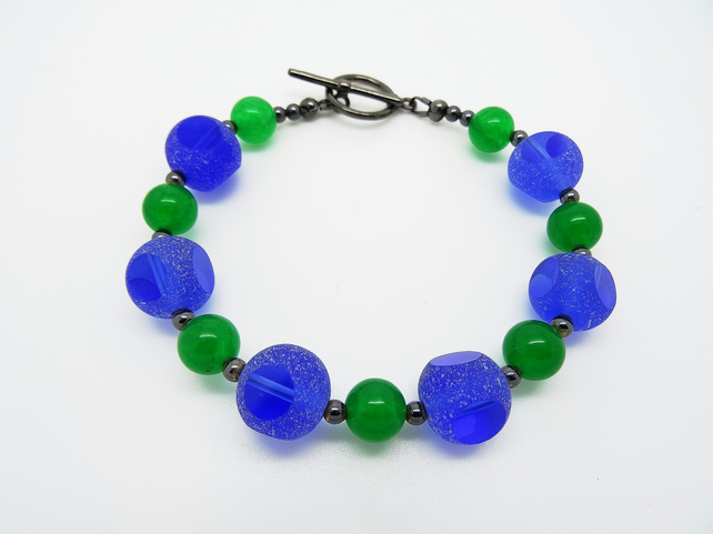 Cobalt and Emerald Bracelet