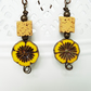 Mustard Earrings, Lava Stone Earrings, Flower Earrings, Czech Glass Earrings,