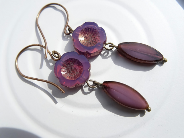 Czech Glass Earrings, Purple Earrings, Flower Earrings.
