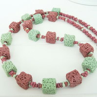 Lava Stone Necklace, Peanut Bead Necklace, Mint Necklace,Rose Pink Necklace.