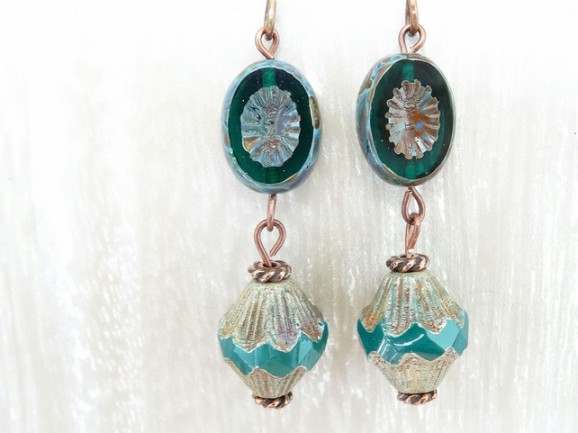 Czech Glass Earrings, Teal Earrings, Green Earrings, Vintage Style.