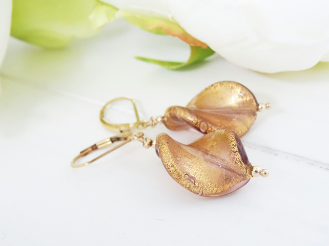 Murano Glass Earrings, Venetian Glass Earrings, Leaf Earrings, Goldfill Earrings