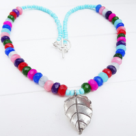 Faceted Jade Rondell Necklace, Hilltribe Silver Necklace. Multi Coloured.