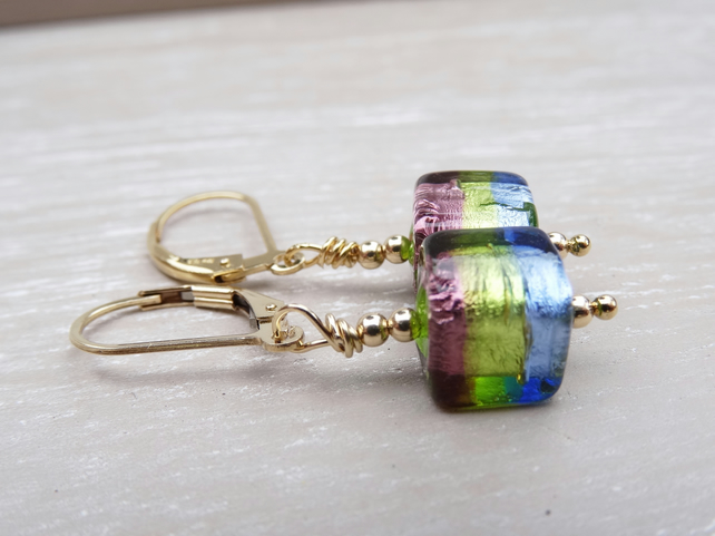Murano Glass Earrings, Cube Earrings, Venetian Glass Earrings.