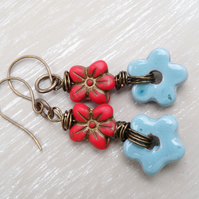 Ceramic Earrings, Czech Glass Earrings, Flower Earrings, Daisy Earrings.