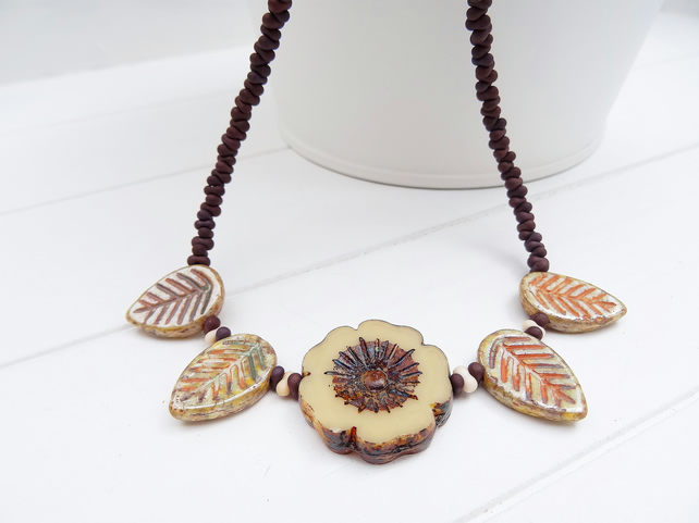 Flower and Leaf Necklace, Czech Glass Necklace, Brown and Cream Necklace,