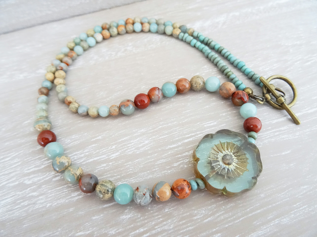 Aqua Terra Jasper Necklace, Czech Glass Necklace, Flower Necklace, Blue Necklace