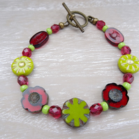Flower Bracelet, Red Bracelet, Green Bracelet, Czech Glass Bracelet,