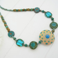 Ceramic Necklace, Czech Glass Necklace, Blue Necklace, Green Necklace,