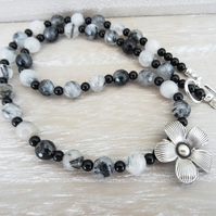 Rutile Quartz Necklace, Black Onyx Necklace, Hilltribe Silver Daisy Necklace.