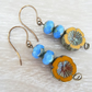 Czech Glass Earrings, Mustard Earrings, Flower Earrings, Cornflower Blue Earring