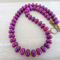 Jasper Rondelle Necklace, Fuchsia Jasper Necklace, Hematite Necklace,