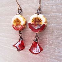 Flower Earrings, Petal Earrings, Pansy Earrings, Red Earrings, Cream Earrings