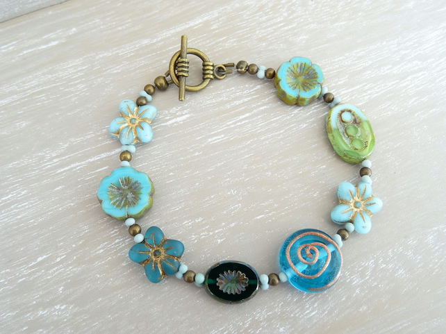 Czech glass bracelet,blue bracelet,flower bracelet,ladies bracelet,gift.