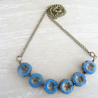 Czech Glass Flower Necklace, Cornflower Blue Necklace, Chain Necklace,Flower Nec