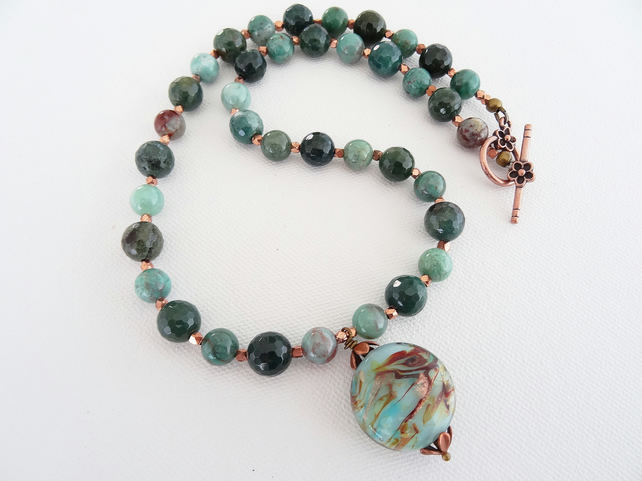Agate Necklace, Lampwork Glass Necklace, Moss Agate, Green Necklace, Lace Agate.