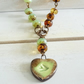 Ceramic Heart Pendant, Czech Glass Faceted Rondelles Necklace,  Ceramic Necklace