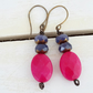 Jade Earrings, Czech Glass Earrings, Fuchsia Earrings, Lilac Earrings.