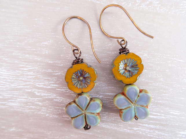 Clover Earrings,Floral Earrings, Flower Earrings, Mustard Earrings,Blue Earrings