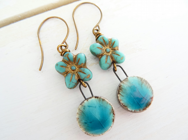 Ceramic Earrings, Daisy Earrings, Czech Glass Earrings, Turquoise Earrings.