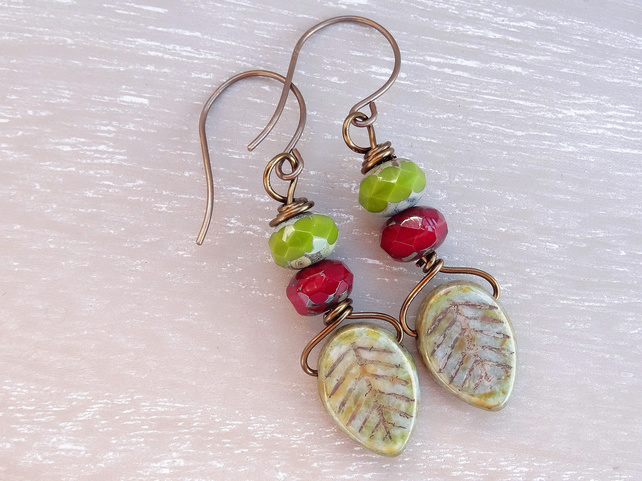 Czech Glass Earrings, Leaf Earrings, Ruby Red Earrings, Olive Green Earrings.