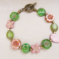 Flower Bracelet,Daisy Bracelet,Czech Glass Bracelet, Pink and Green Bracelet.Thi