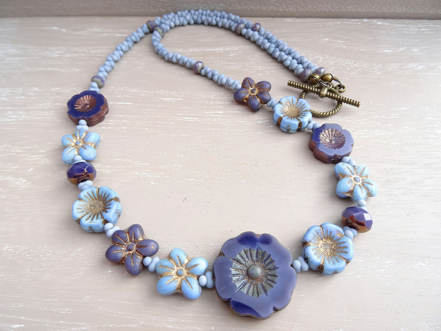 Czech Glass Necklace, Floral Necklace, Daisy Necklace, Pansy Necklace,