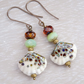 Lampwork Glass Earrings, Czech Glass Earrings, Clam Shell Earrings.