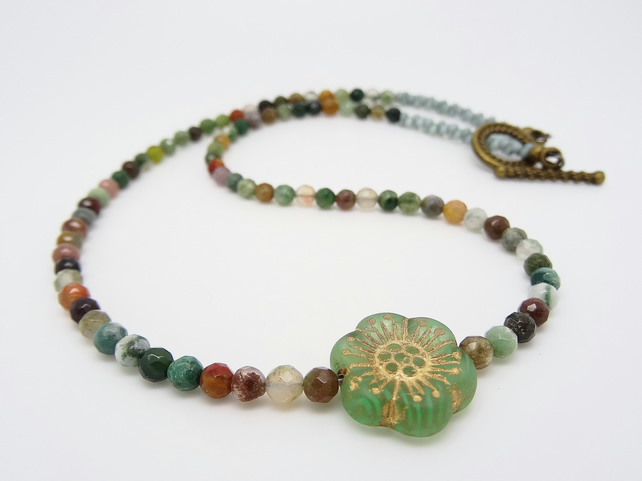 Agate Necklace, Czech Glass Necklace, Floral Necklace, Flower Necklace,