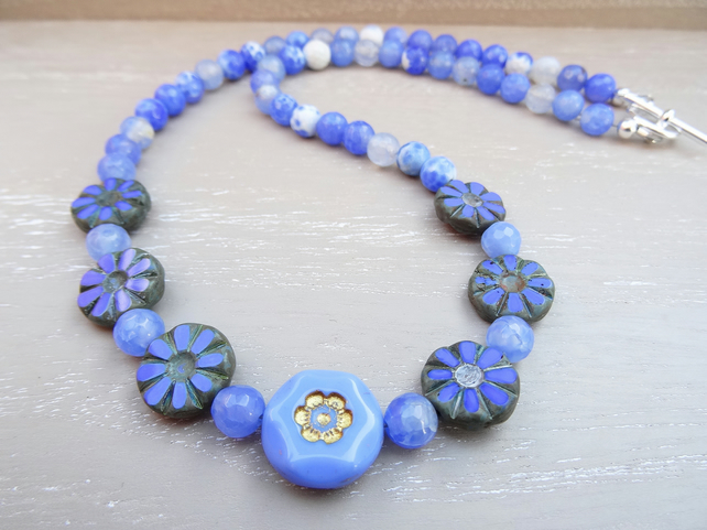 Fire Agate Necklace, Cornflower Blue Necklace, Czech Glass Necklace.