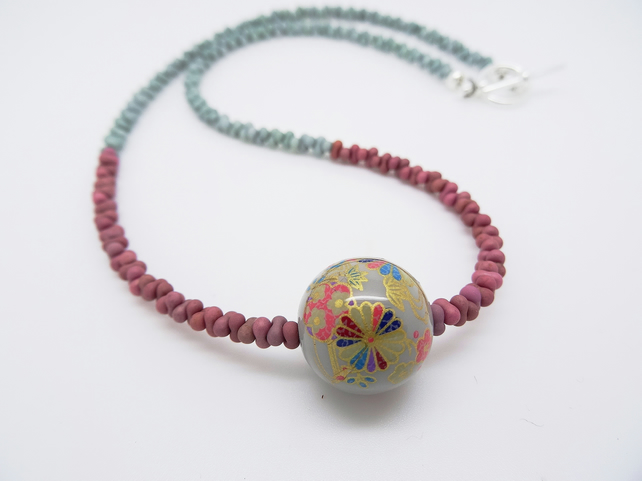 Tensha Bead Necklace, Japanese Decal Bead Necklace, Czech Glass Necklace,