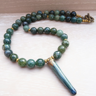 Agate Necklace, Moss Agate Necklace, Hematite Necklace, Green Necklace,