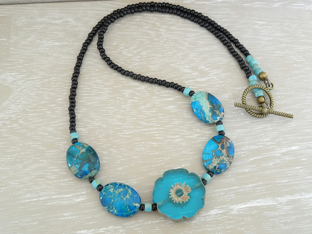 Jasper Necklace, Czech Glass Necklace, Prussian Blue Necklace,