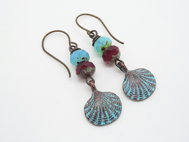 Mykonos Patina Clam Shell Earrings, Burgundy Earrings, Aqua Blue Earrings.