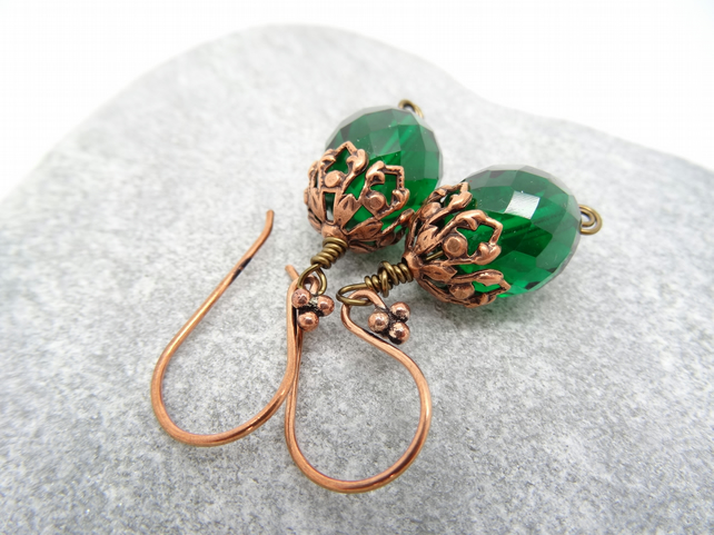 Czech Glass Earrings, Emerald Green Earrings, Faceted Glass Earrings,