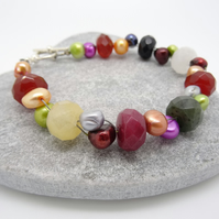 SALE!!! Pearl and Faceted Mixed Gemstone Bracelet