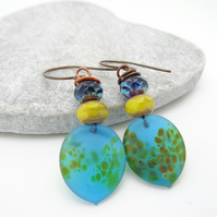 Lampwork Glass Earrings, Czech Glass Earrings, Turquoise Earrings, Lemon Earring