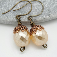 Czech Glass earrings,Vintage style czech glass earrings,peach earrings