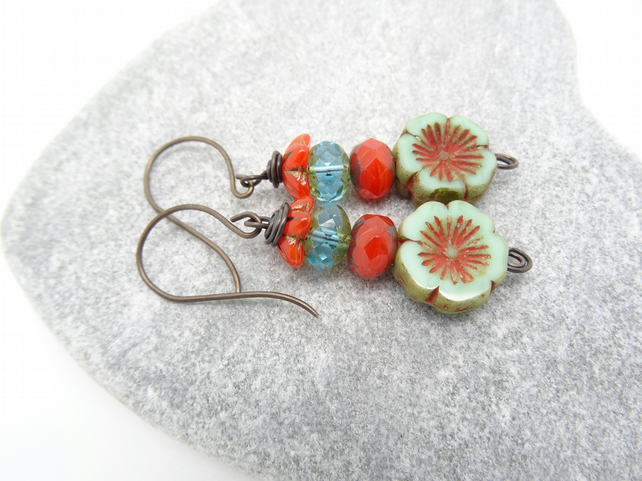 Flower Earrings, Pale Blue Earrings,Orange Earrings, Pansy Earrings.