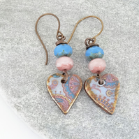 Heart Earrings, Ceramic Earrings, Czech Glass , Pink Earrings, Blue Earrings.