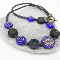 Flower Necklace, Cobalt Blue Necklace, Anemone Necklace, Czech Glass Necklace,