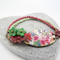 Ceramic Bar Bracelet, Floral Bracelet, Pink and Green Bracelet.