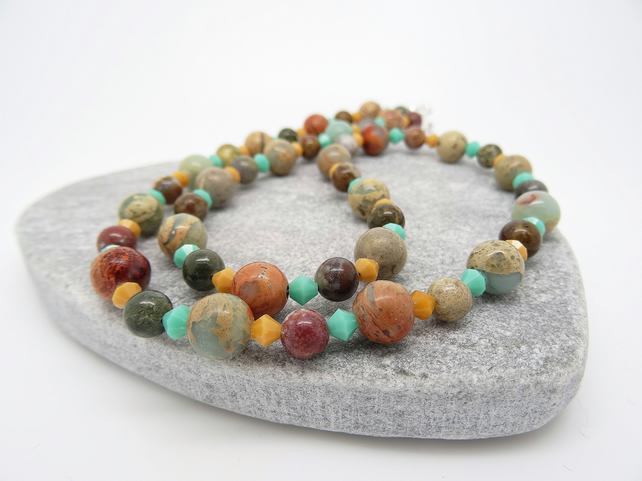 Jasper Necklace, Czech Glass Necklace, Semi Precious Stone Necklace.