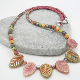 Leaf Necklace,Czech Glass Necklace,Dusky Pink Necklace,Sage Green Necklace.