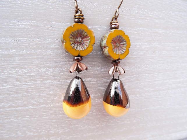 Ceramic Droplet Earrings, Czech Glass Flower Earrings, Mustard Earrings.