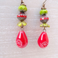 Ceramic Earrings, Czech Glass Earrings, Red Earrings, Lime Earrings.