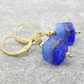 Murano Glass Earrings, Cube Earrings, Blue Earrings, Gold Filled Earrings.