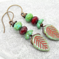 Leaf Earrings, Czech Glass Earrings, Mulberry Earrings, Green Earrings.