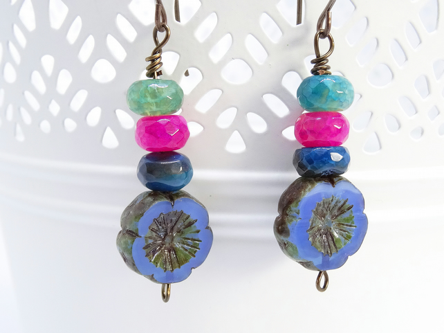 Faceted Agate Rondells and Czech Glass Flower Earrings