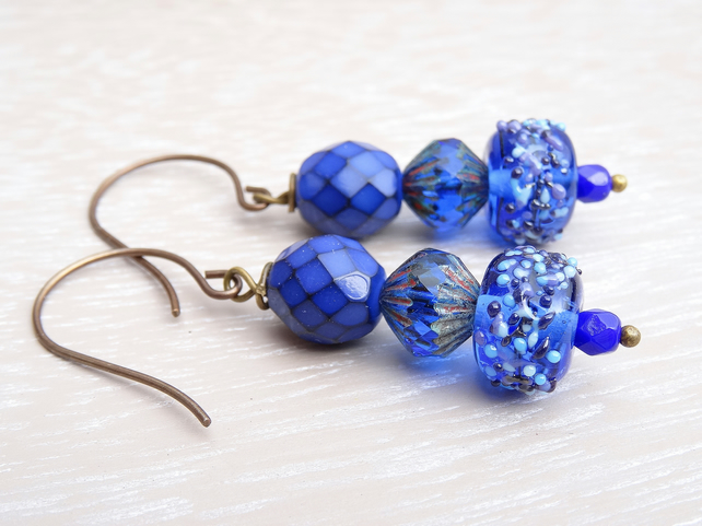 Lampwork Glass Earrings, Czech Glass Earrings, Cobalt Blue Earrings.